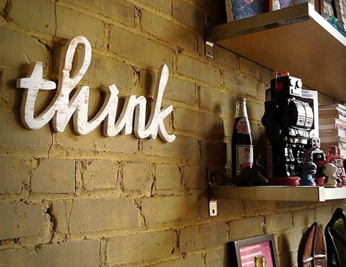 Think Wooden Sign
